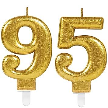 Carpeta 2x Zahlenkerzen Zahl 95 In Gold 11cm X 9cm