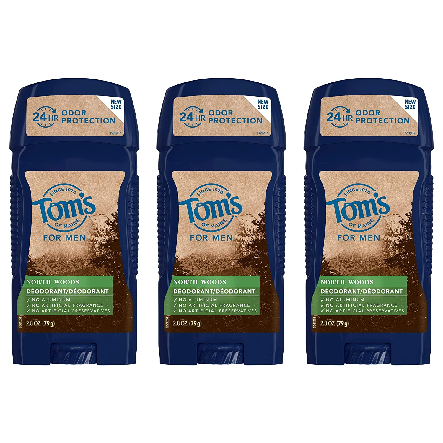 Tom's of Maine Long-Lasting Aluminum-Free Natural Deodorant for Men, North Woods, 2.8 oz. 3-Pack : Beauty