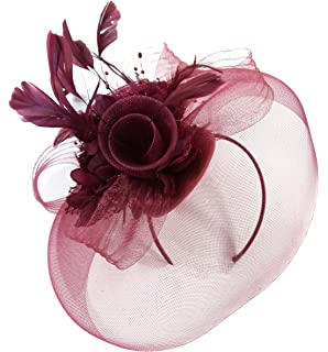Burgundy Feather Flower Fascinator Hat Veil Net headband Clip Ascot Derby  Races Wedding … ad63a81524d