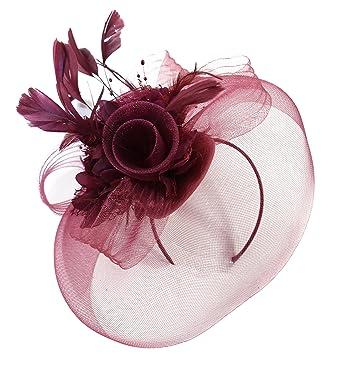 Burgundy Feather Flower Fascinator Hat Veil Net headband Clip Ascot Derby  Races Wedding … (All 2a9c8211fe6