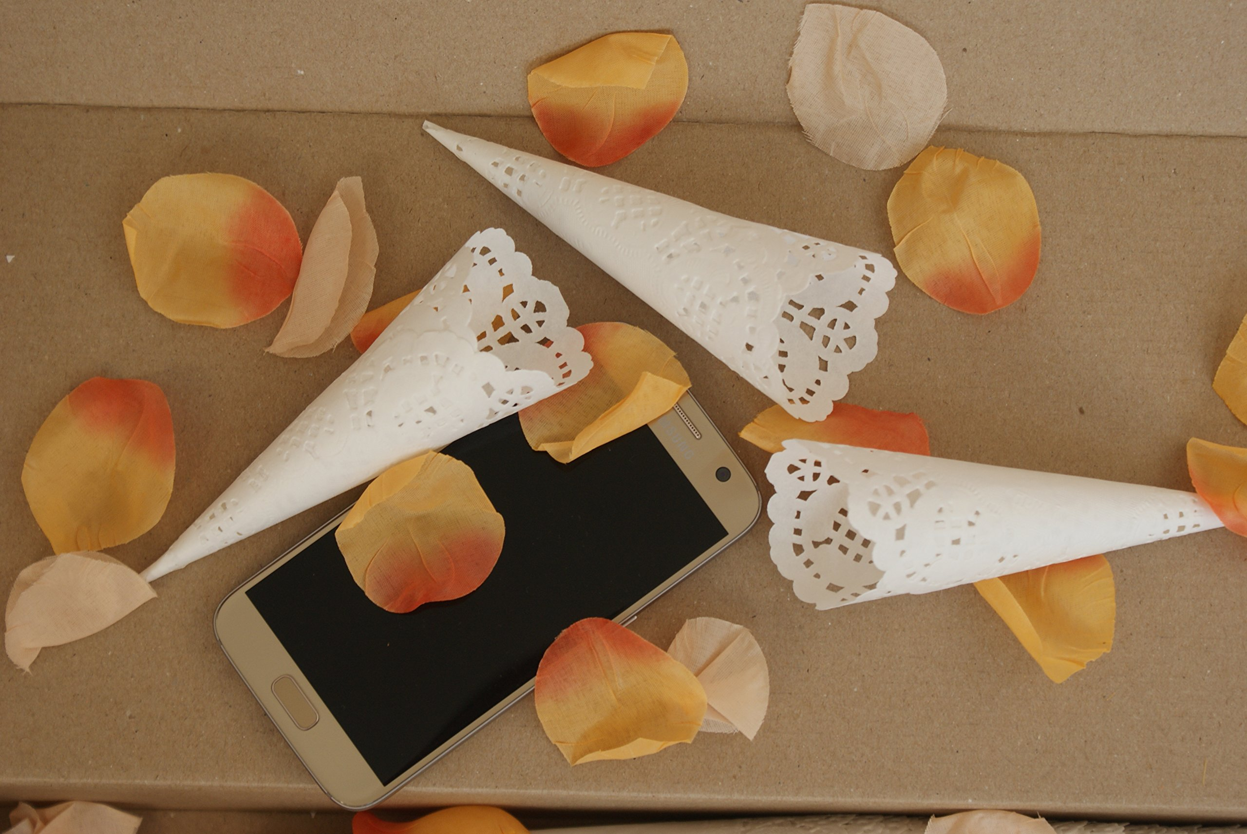 Assembled Confetti toss Cones, Set of 100 Small Cones for Confetti, Lavender, Rice (100)