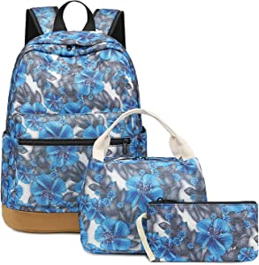 Bookbags for Girls School Backpack Floral School bag with Insulater Lunch Box and Pouch for teens Kids Daypack (Blue Orchid Flower)