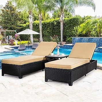Amazon.com: Yardwind - Juego de 3 sillas de mimbre para ...