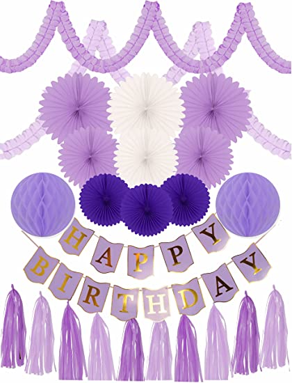 amazon com meant2tobe purple birthday decoration set for girl