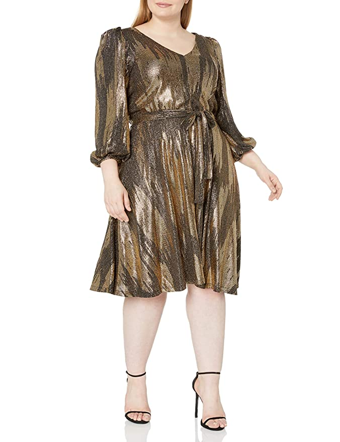 70s Dresses – Disco Dress, Hippie Dress, Wrap Dress Calvin Klein Womens Plus Size Long Sleeve V-Neck Dress with Self Belt $149.00 AT vintagedancer.com