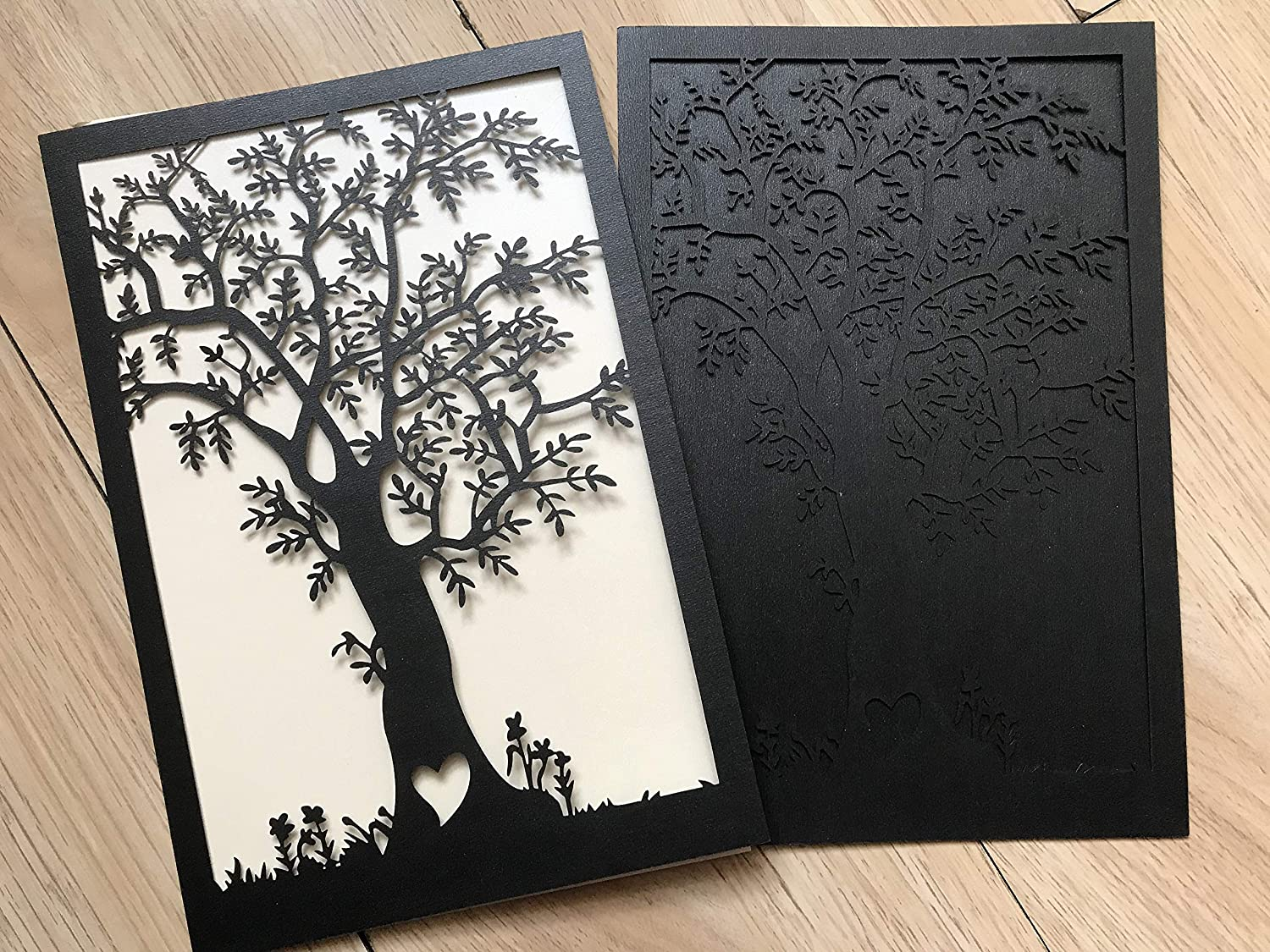 Amazon.com: customiz Laser Cut Wedding Invitations Cards,Tree Design Laser  Cut Invitation Cards,Wishing Well Card,Laser Cut Invitation Cards,Wedding  Invite Cards,Pearl Black 50pcs: Arts, Crafts & Sewing