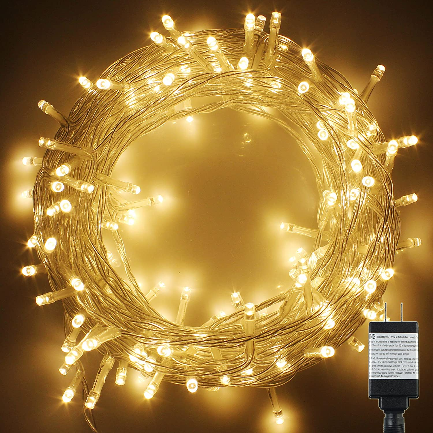Amazon.com: PMS 1000 LED String Fairy Lights on Clear Cable with 8 ...