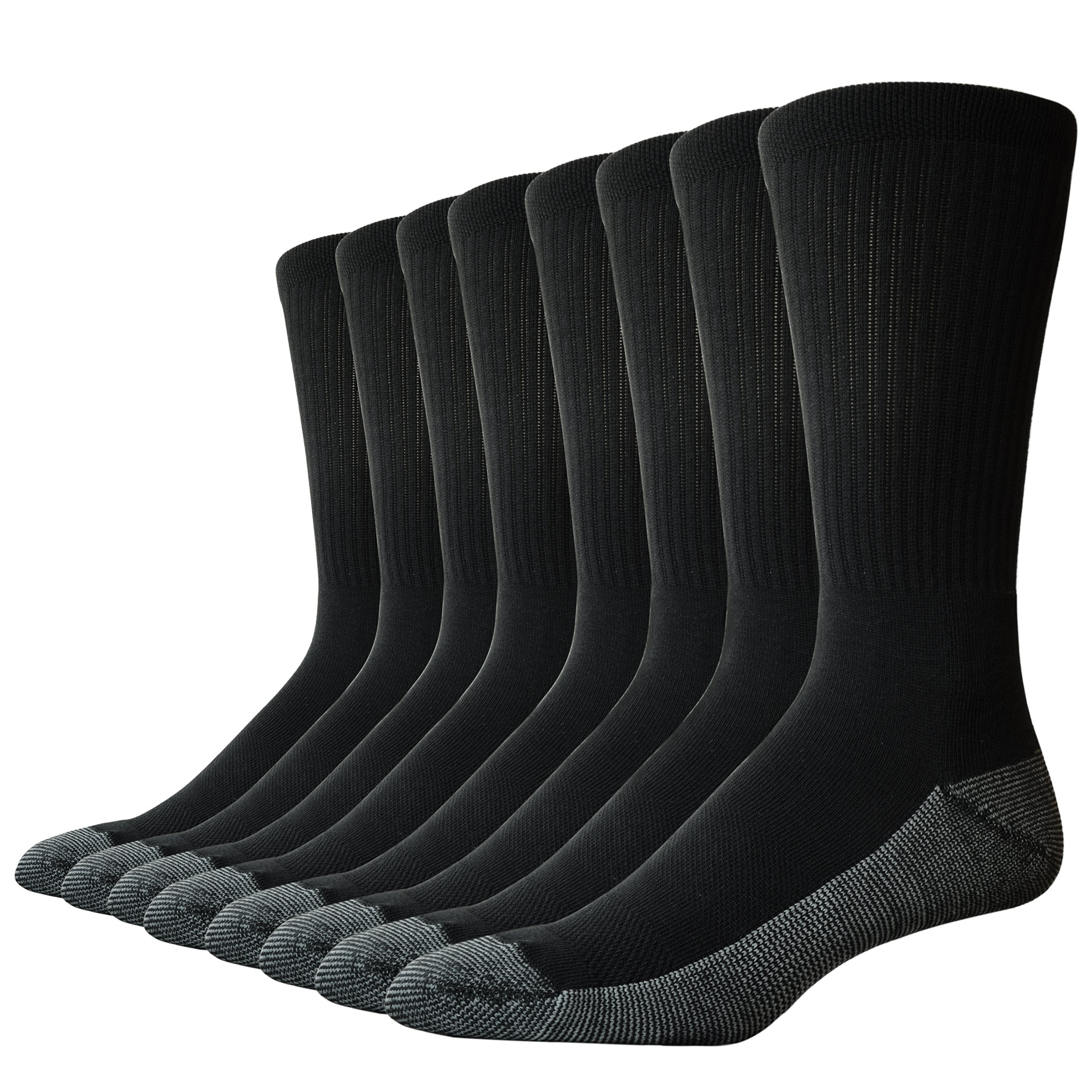The Sock Crew Mens 8 Pair Pack Crew Work Socks with cushion sole, arch support and mesh ventilation, Sock Size: 10-13 Fits Shoe 6-12, Black