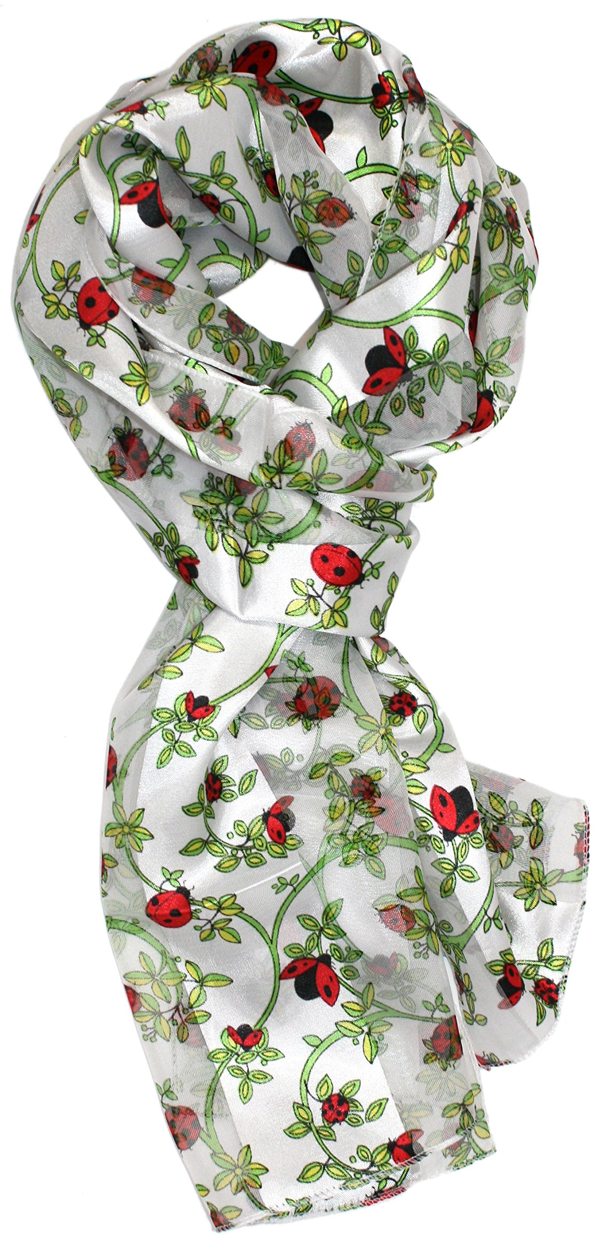 Ted and Jack - Spring Garden Helper Print Silk Feel Scarf in White Ladybug