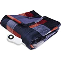 Serta Heated Electric Silky Plush Printed throw with 5 setting controller Buffalo Check/Red Model 0917