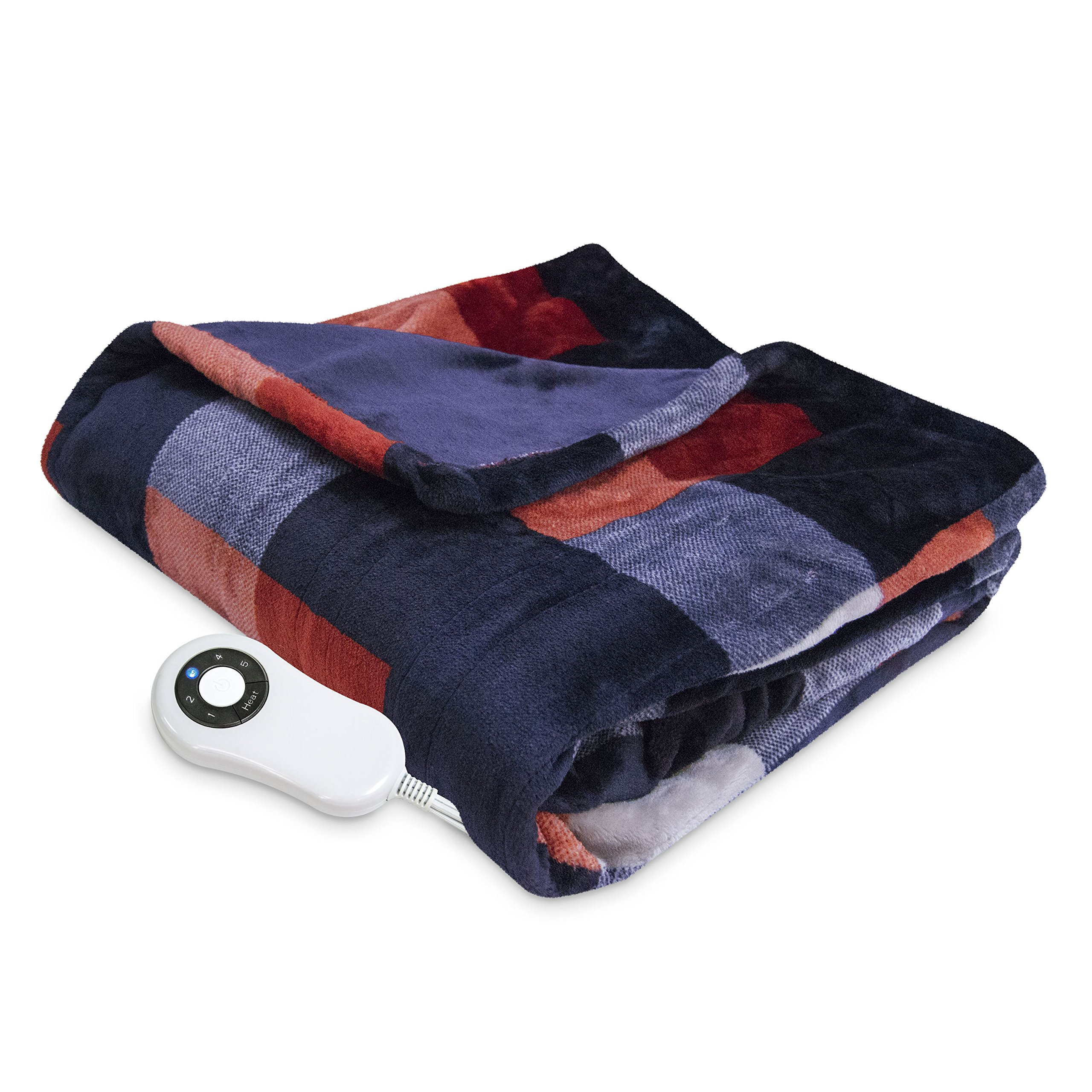 Serta Heated Electric Silky Plush Printed throw with 5 setting controller Buffalo Check/Red Model 0917 by Serta