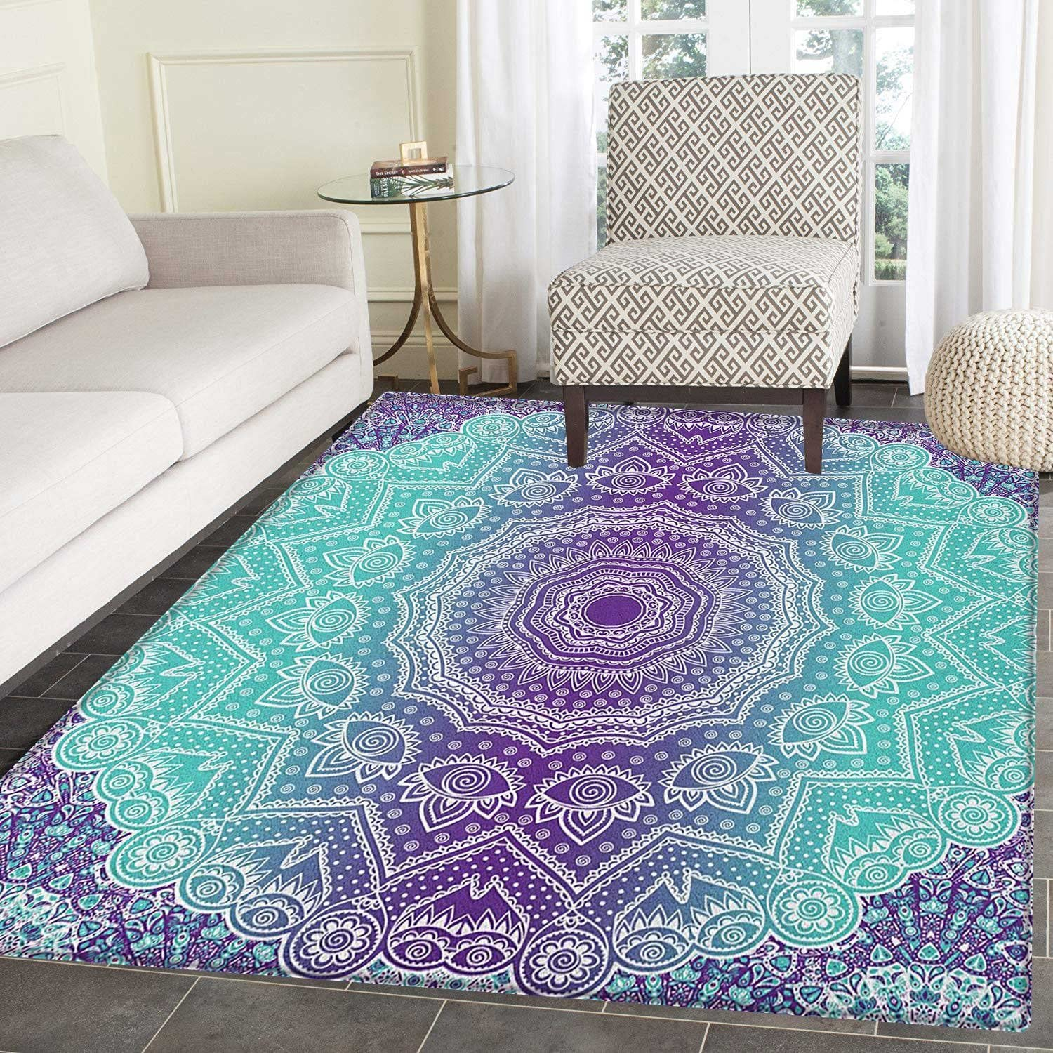 Purple and Turquoise Area Rug Carpet Hippie Ombre Mandala Inner Peace and Meditation with Ornamental Art Living Dining Room Bedroom Hallway Office Carpet 3'x4' Purple Aqua