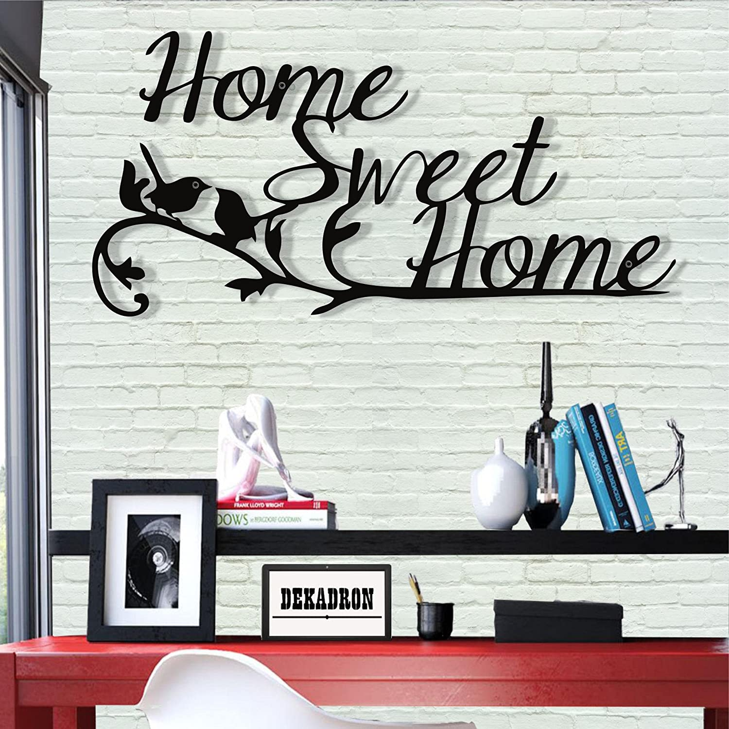"Metal Wall Art - Home Sweet Home - 3D Wall Silhouette Metal Wall Decor Home Office Decoration Bedroom Living Room Decoration (30"" W x 15"" H/76x38cm)"