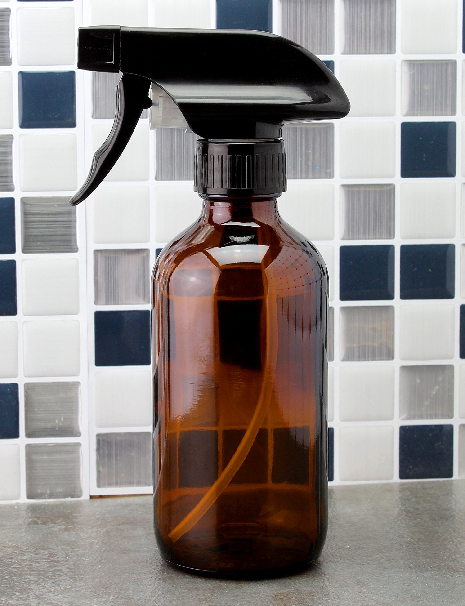 8oz Amber Glass Boston Round Spray Bottles (2 Pack); w/ Heavy Duty Mist & Stream Sprayers Perfect for Essential Oil Blends by Cornucopia Brands (Image #6)