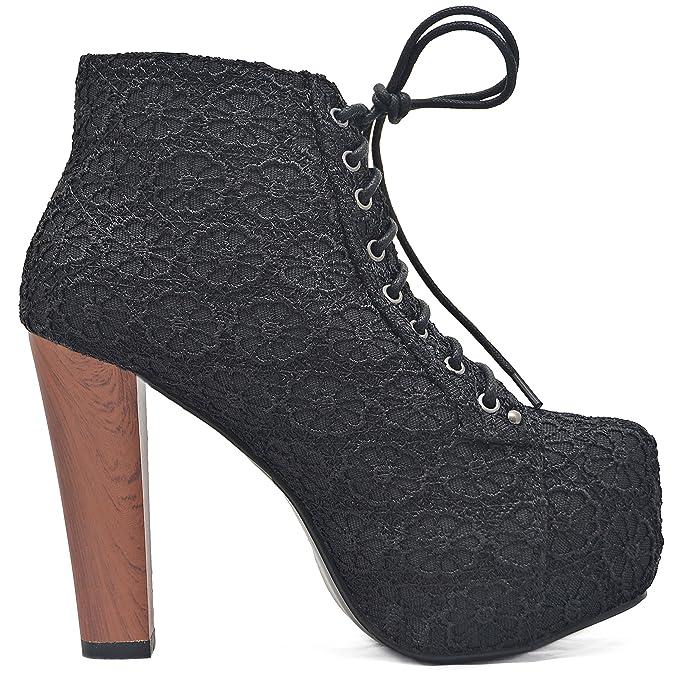 ff839f5b09e9f5 Kayla Shoes Plateau Spitze stickerei Boots Holzabsatz Optik  Amazon.de   Schuhe   Handtaschen