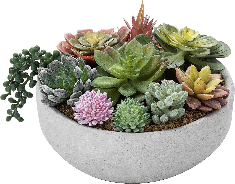 MyGift 8-Inch Artificial Succulent Plant Arrangement in Concrete Pot