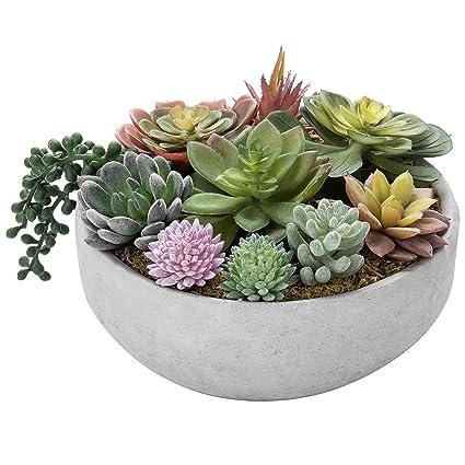 Artificial Succulent Plant Centerpiece Arrangement in White Ceramic Oval Planter