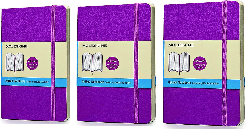 Pack of 3 Moleskine Classic Coloredノートブック、ポケット、点線、オーキッドパープル、ソフトカバー( 3.5 X 5.5