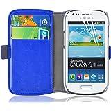 Galaxy S3 Mini Hülle, JAMMYLIZARD Luxuriöse Flip Cover Ledertasche mit Kartenfach für Samsung Galaxy S3 Mini, CHAMPAGNER WEIß