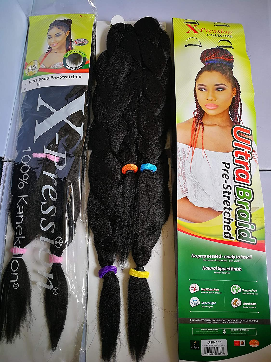 UK: Time Saving. X-Pression Pre Stretched Braid X11 Ultra Super Braiding  Bulk Hot Water Seal Braid. Hair Extension. Pre-Cut, Pre-Layered