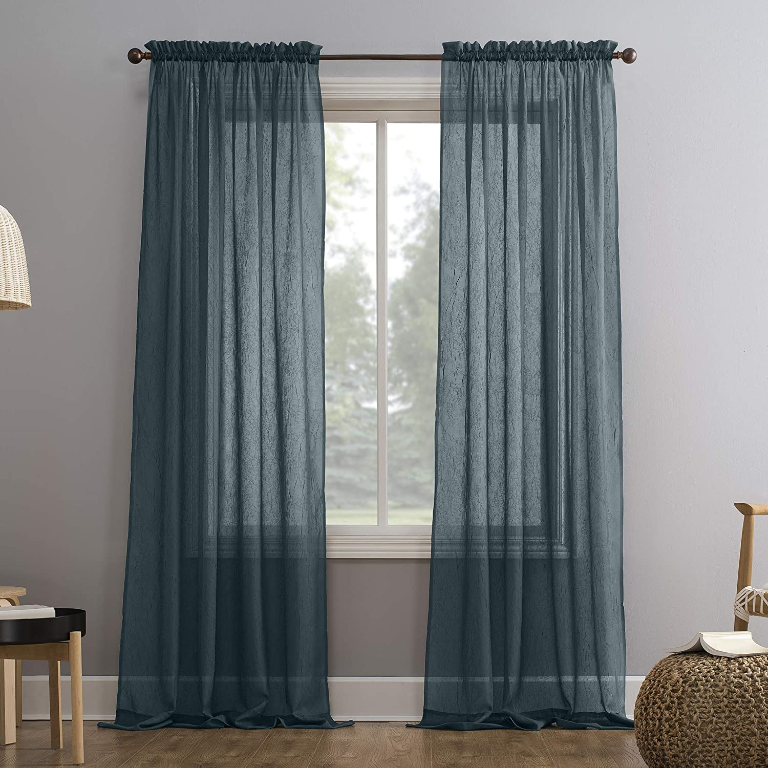 "No. 918 Erica Crushed Texture Sheer Voile Rod Pocket Curtain Panel, 51"" x 63"", Teal"
