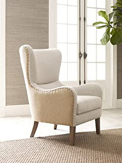 Elle Decor Mid Century Modern Wingback Chair In French Two Toned Beige