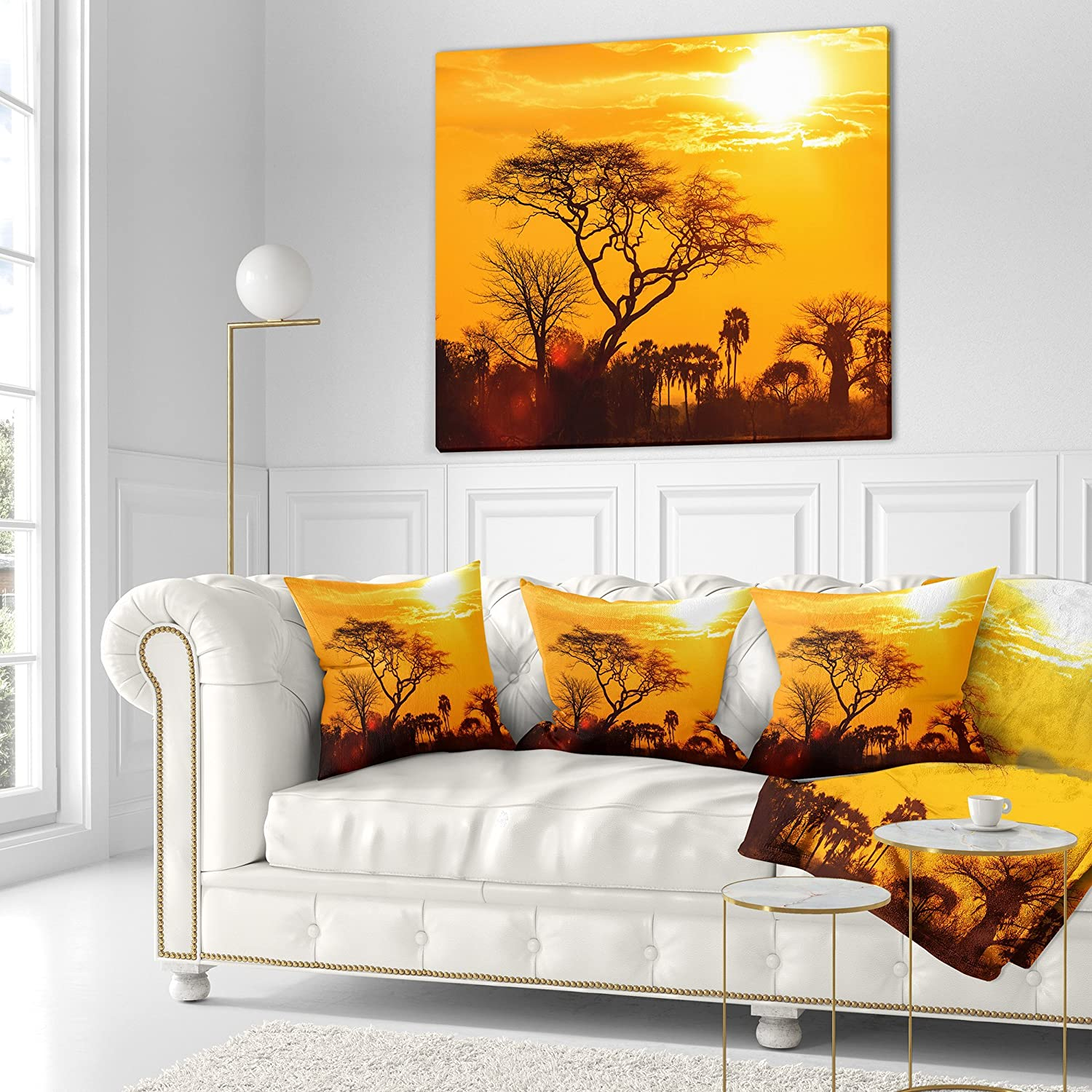 in Designart CU10884-26-26 Orange Glow of African Sunset Landscape Printed Cushion Cover for Living Room Sofa Throw Pillow 26 in x 26 in