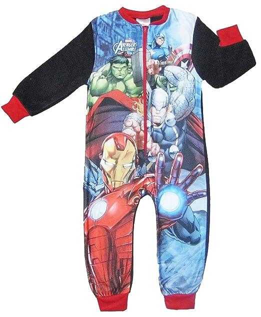 pyjamas pj 4-10yrs fleece character sleepsuit Boys Marvel AVENGERS all in one