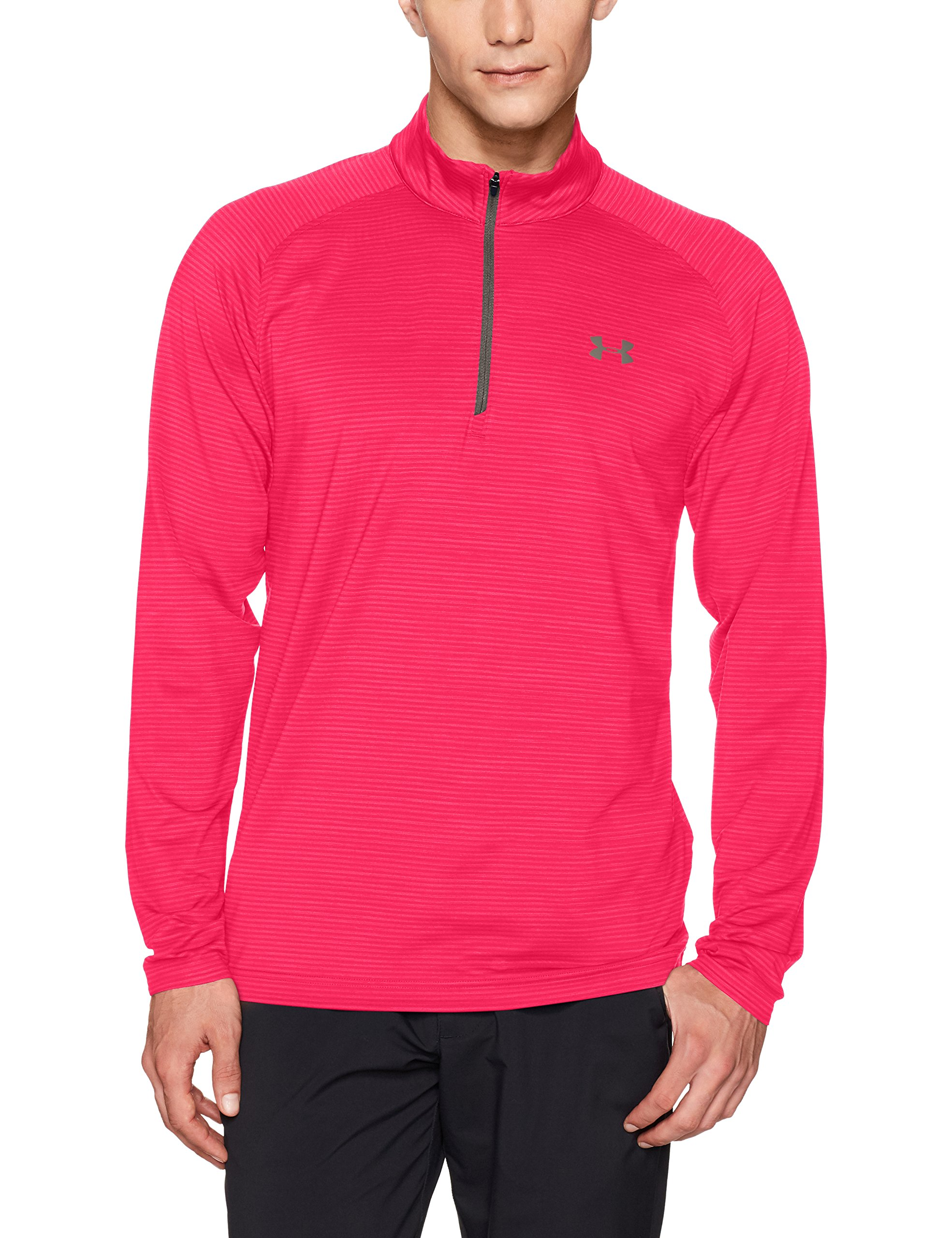 Under Armour Men's Playoff 1/4 Zip,Hollywood /Rhino Gray, Small