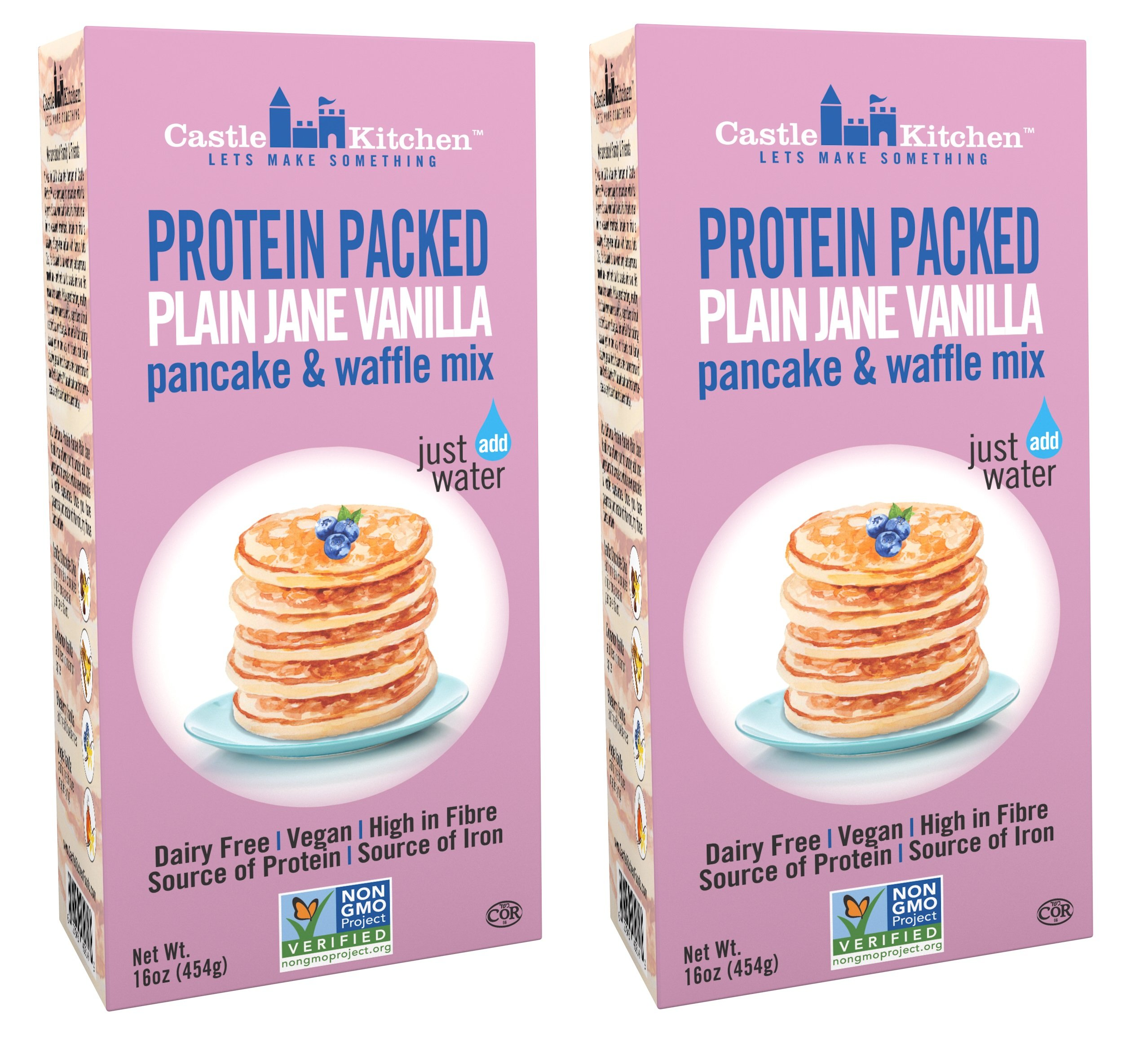 Protein Packed Pancake & Waffle Mix, Plain Jane Vanilla - Dairy-Free & Vegan - Complete Mix, Just Add Water - 16 oz (Pack of 2) by Castle Kitchen
