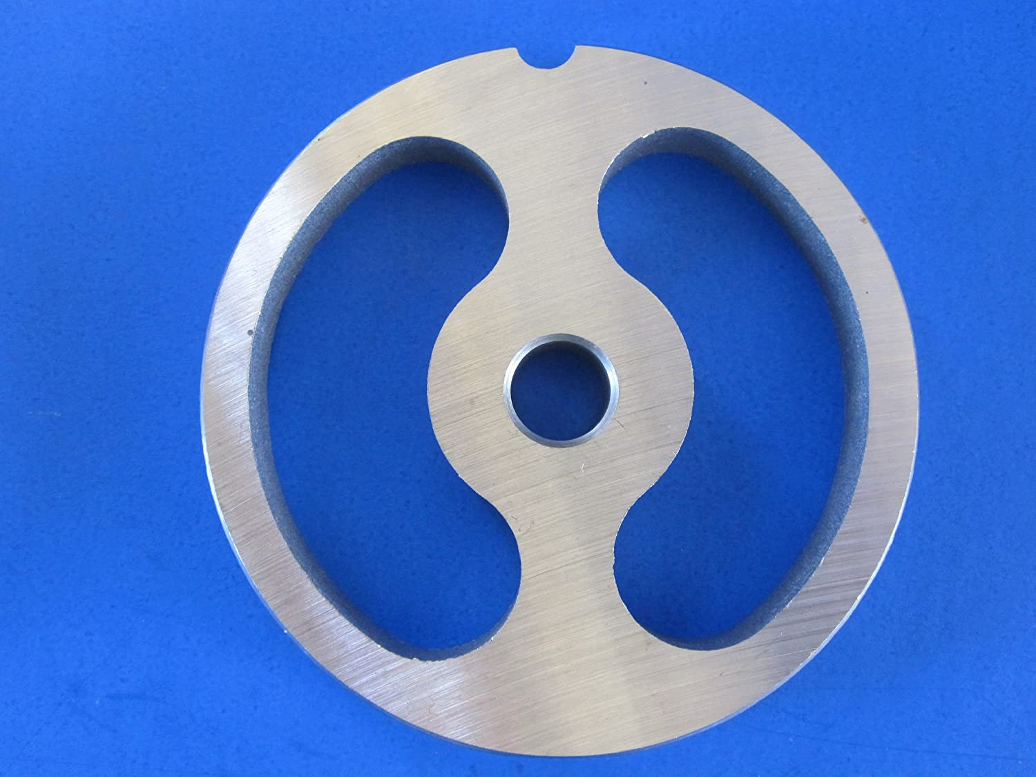 #12 size Kidney shaped Sausage Stuffing plate for Hobart, LEM, Cabelas, TorRey, MTN Meat Grinders. Stainless steel disc = no rust! Smokehouse Chef CECOMINHK02818
