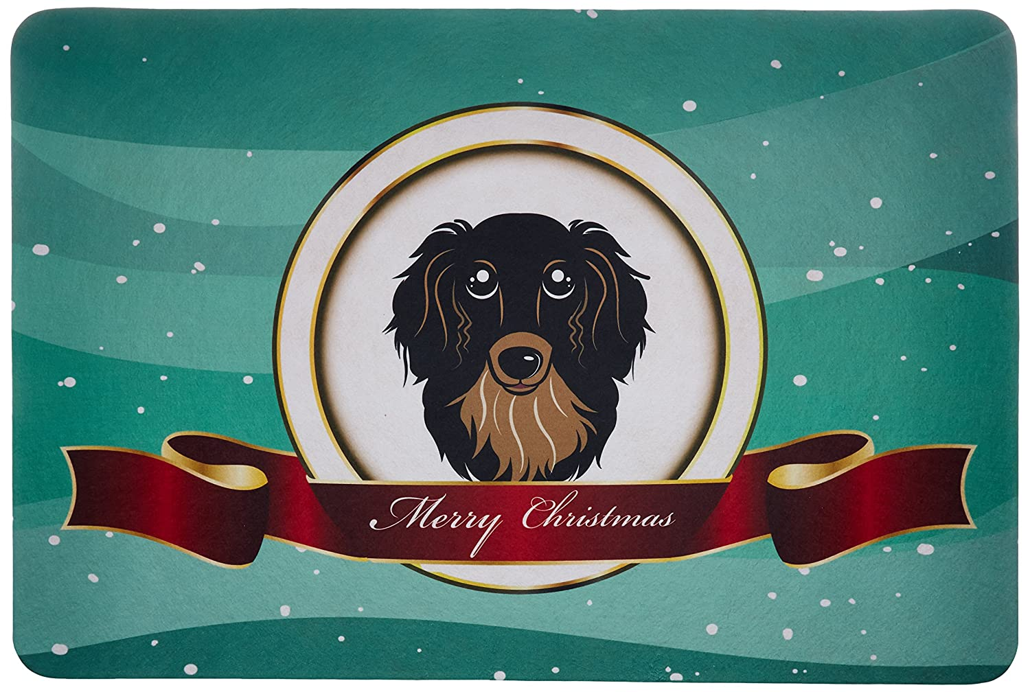 Carolines Treasures BB1523JCMT Longhair Black and Tan Dachshund Merry Christmas Kitchen or Bath Mat Multicolor 24 by 36