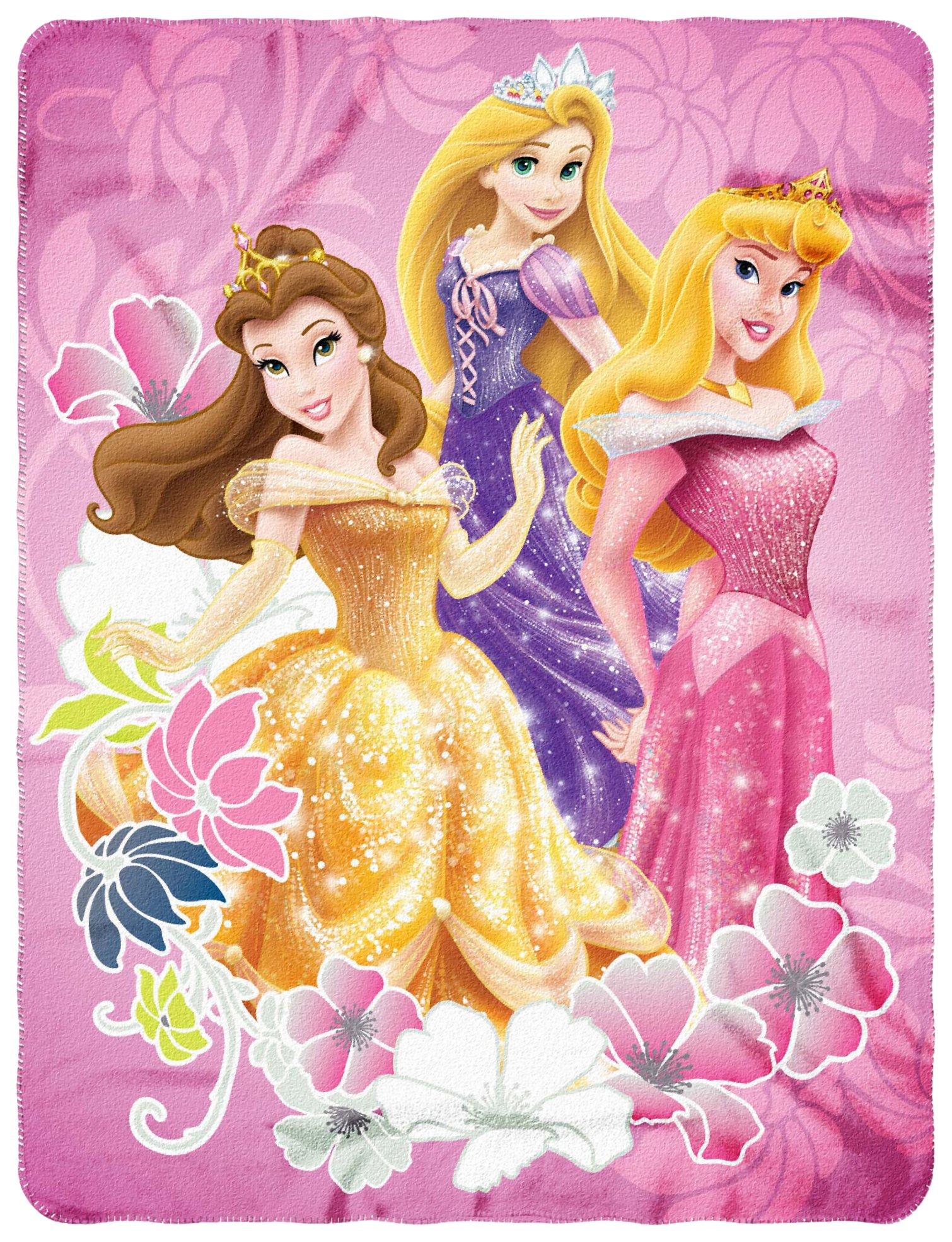 Disney Princesses, ''Shining Flowers'' Fleece Throw Blanket, 45'' x 60''