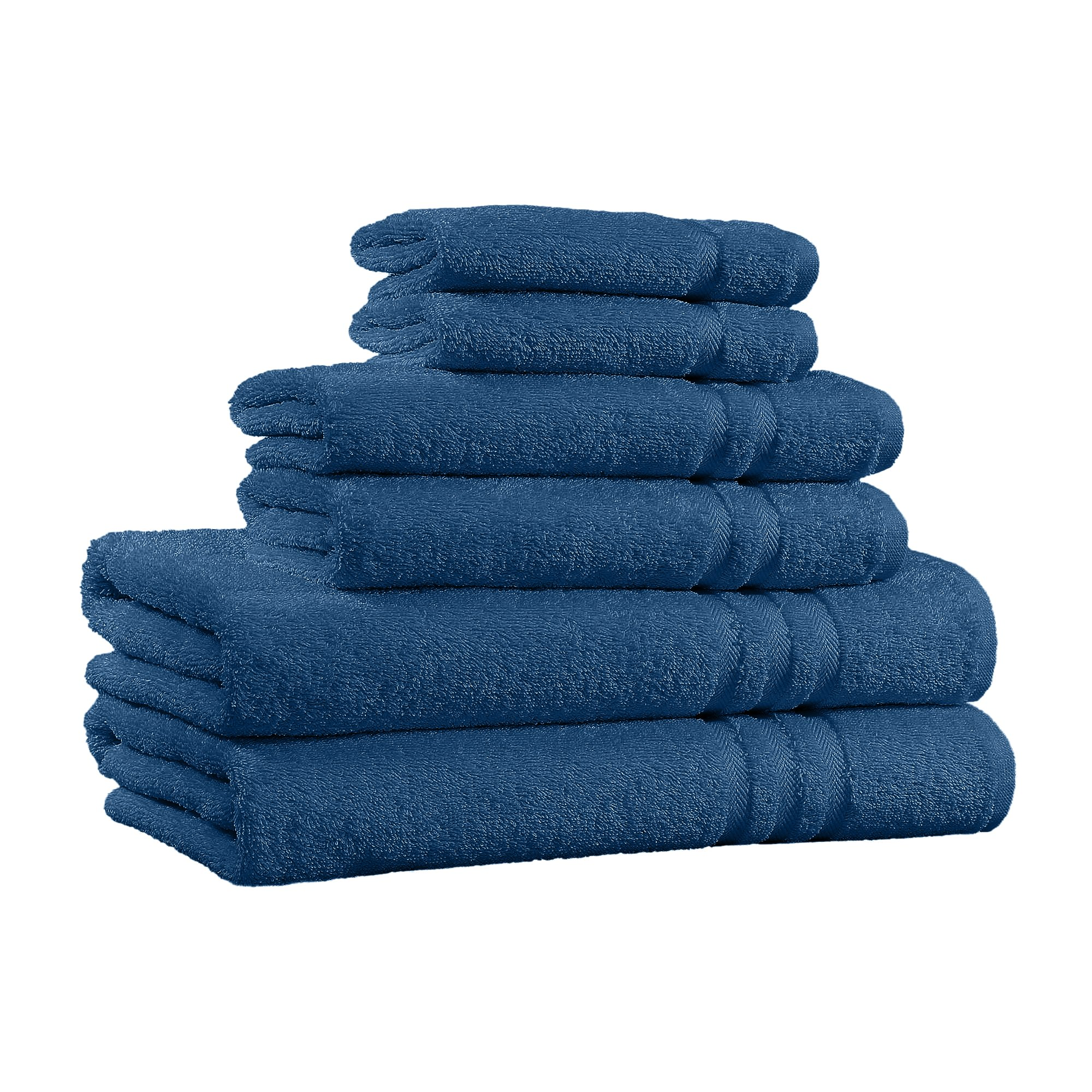100% Cotton 6-Piece Towel Set, 2 Bath Towels, 2 Hand Towels, and 2 Washcloths, Super Soft Hotel Quality, High Absorbent Quick Dry Towel, and Fade-Resistant - 650 GSM - Made in India (Navy)