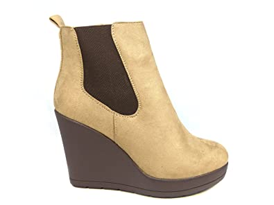 fae11ee19c16 MK Womens Wedge Heel Chunky Platform Cleated Ladies Black Chelsea Ankle  Boots Shoes  Amazon.co.uk  Shoes   Bags