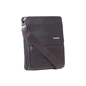 Mens Brown Multi Pocket Faux Crocodile Briefcase, Fold-Over Top Messenger Bag