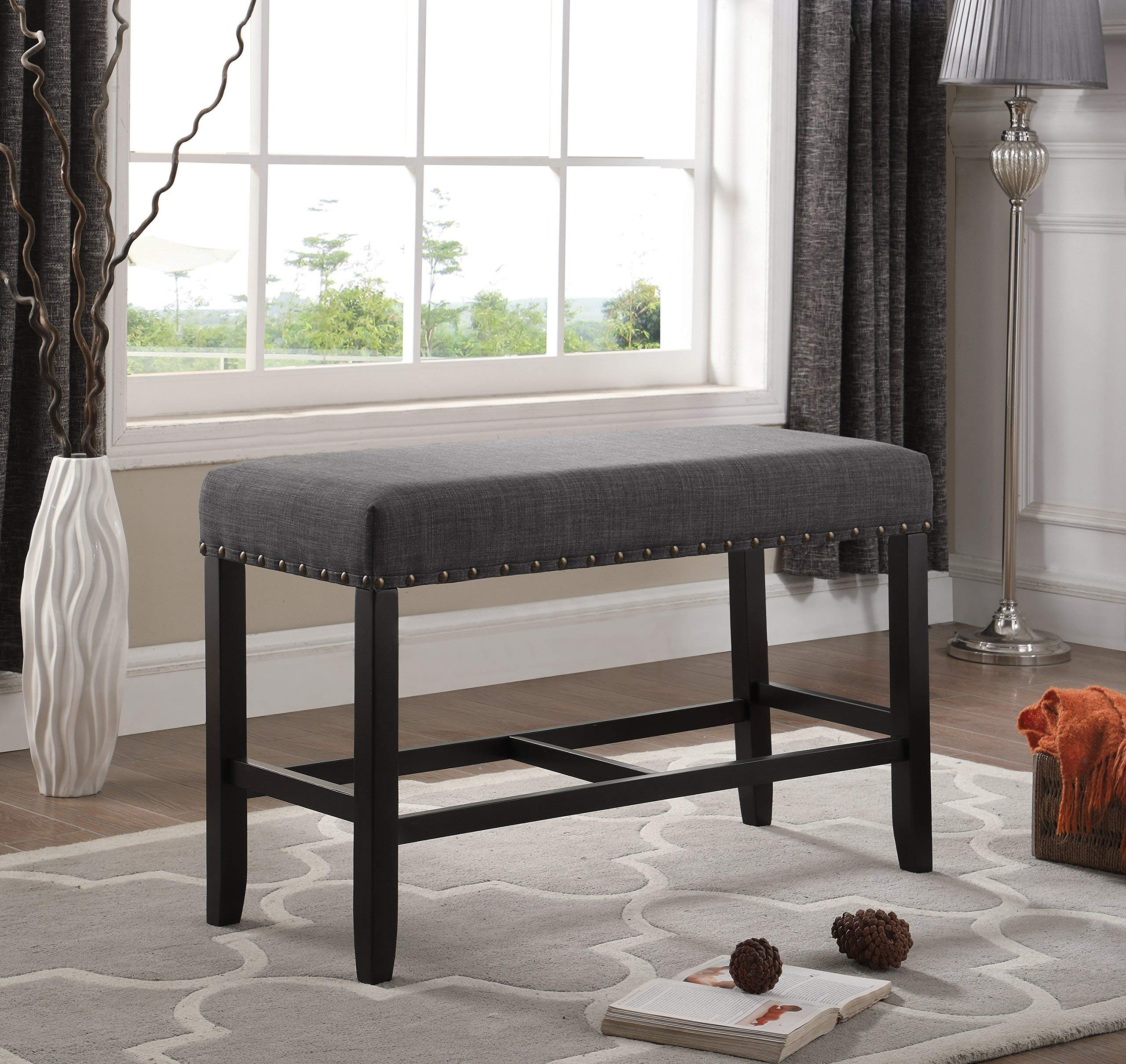 Roundhill Furniture PB162GY Biony Fabric Counter Height Dining Bench with Nailhead Trim, Grey