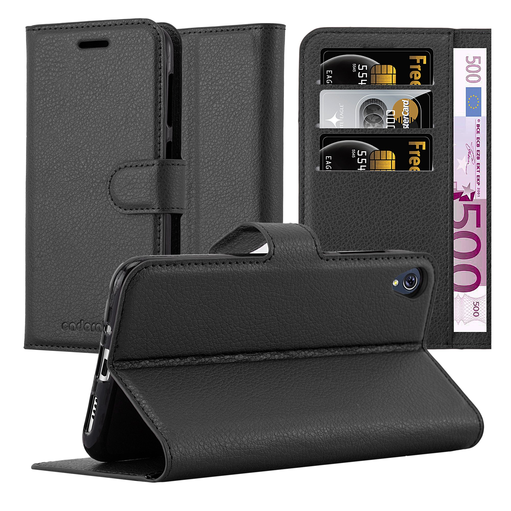 Cadorabo Case works with ASUS ZenFone LIVE/3 GO Book Case in OXID BLACK – with Magnetic Closure, Stand Function and Card Slot – Wallet Case Etui Cover PU Leather Flip