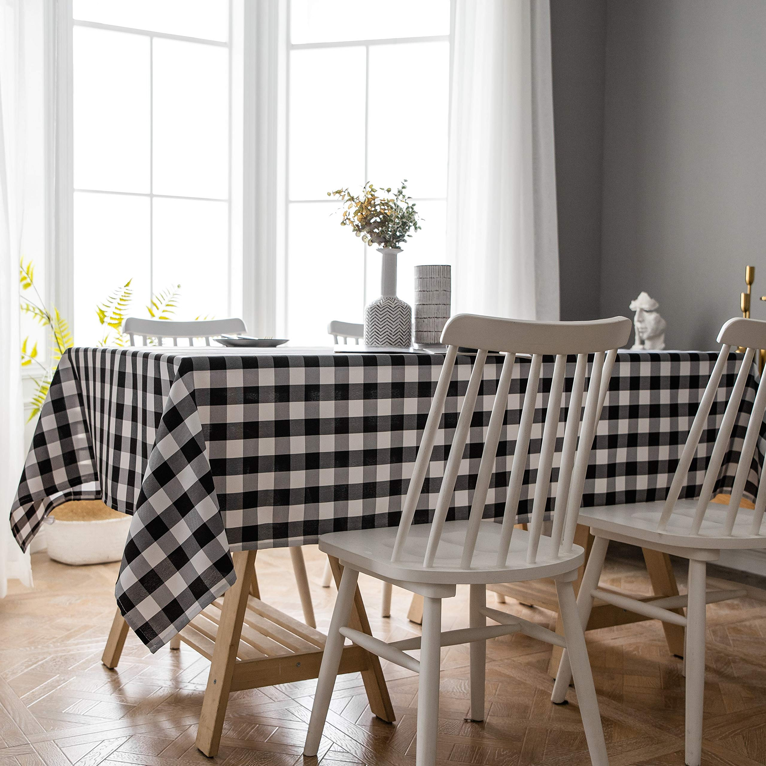 Aquazolax Black and White Buffalo Check Tablecloth Country Farmhouse Rustic Table Covers for Parties/Gatherings, 60x84 inch, Black by Aquazolax
