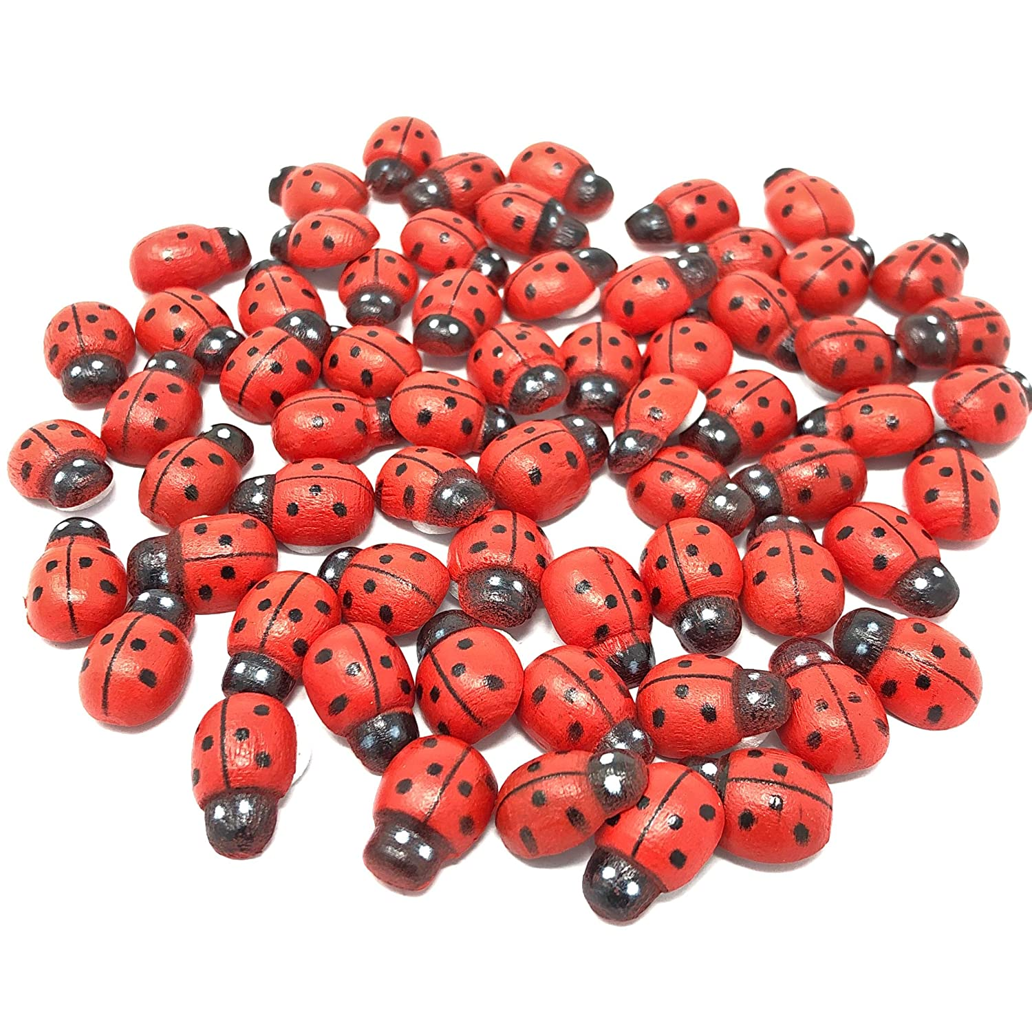 50 Wedding Touches Mini 9x12mm Self Adhesive Wooden Ladybird Ladybugs Craft Card Wood Toppers