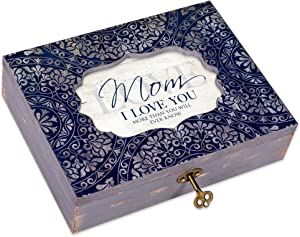 Cottage Garden Mom Decoupage Navy Medallion Musical Box Plays Tune Wind Beneath My Wings