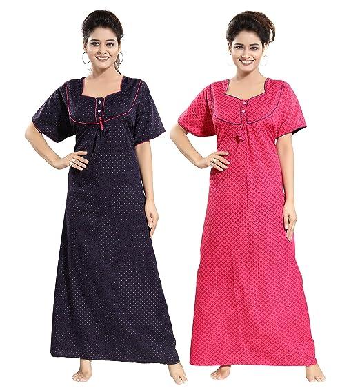 15e46d57c TUCUTE Women s Cotton Beautiful Print Nighty Night Gown Night Dress  Nightwear (Free