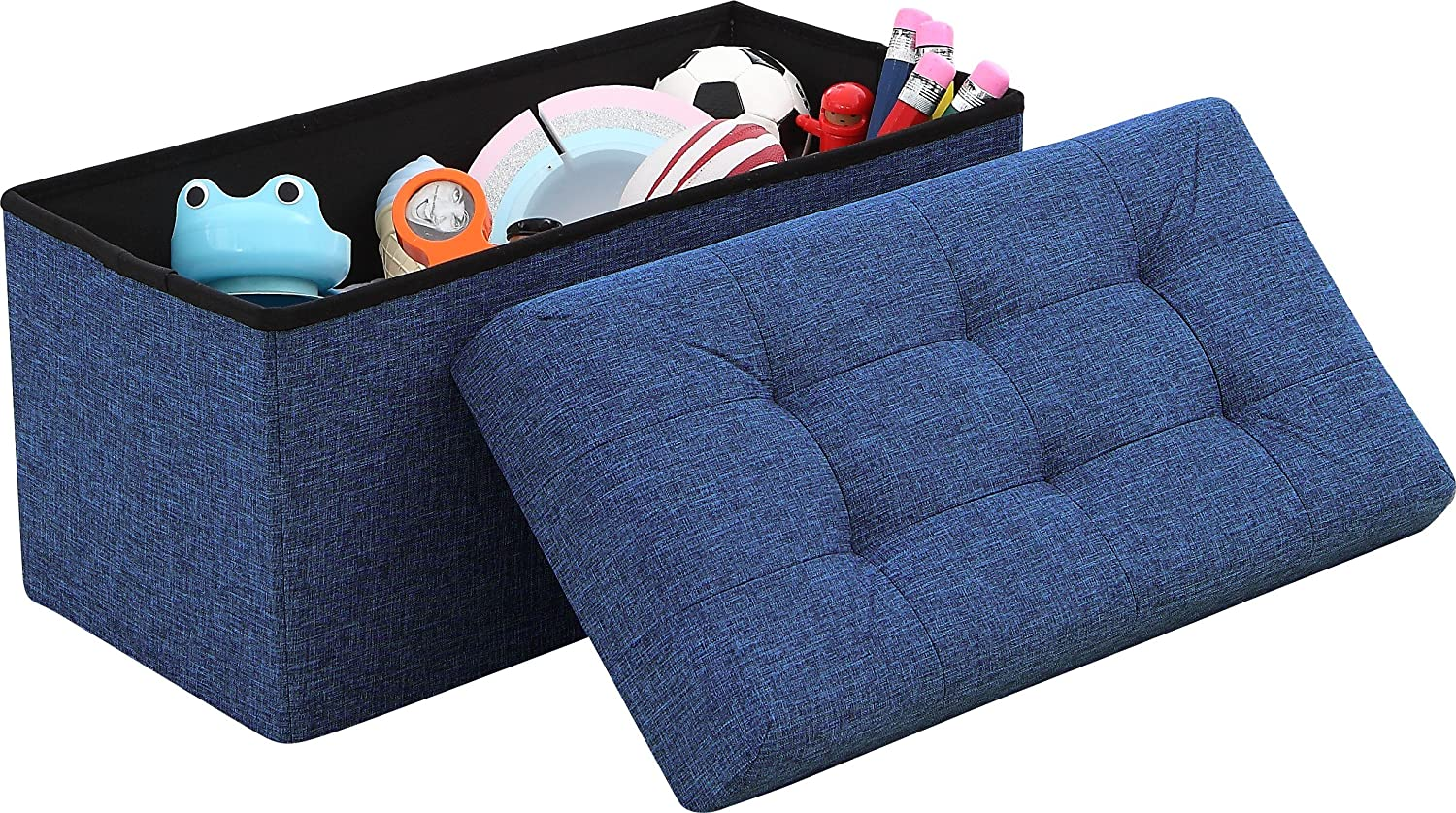 "Ornavo Home Foldable Tufted Linen Large Storage Ottoman Bench Foot Rest Stool/Seat - 15"" x 30"" x 15"" (Navy)"