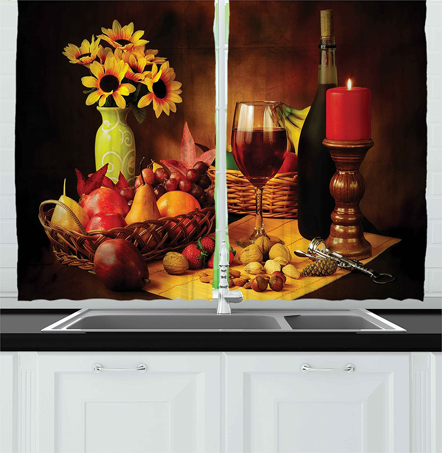 Ambesonne Winery Decor Collection, Still Life Image of Red Wine Flowers Fruits and Nuts with Candle Lighting Romantic Evening, Window Treatments for Kitchen Curtains 2 Panels, 55 X 39 Inches, Yellow