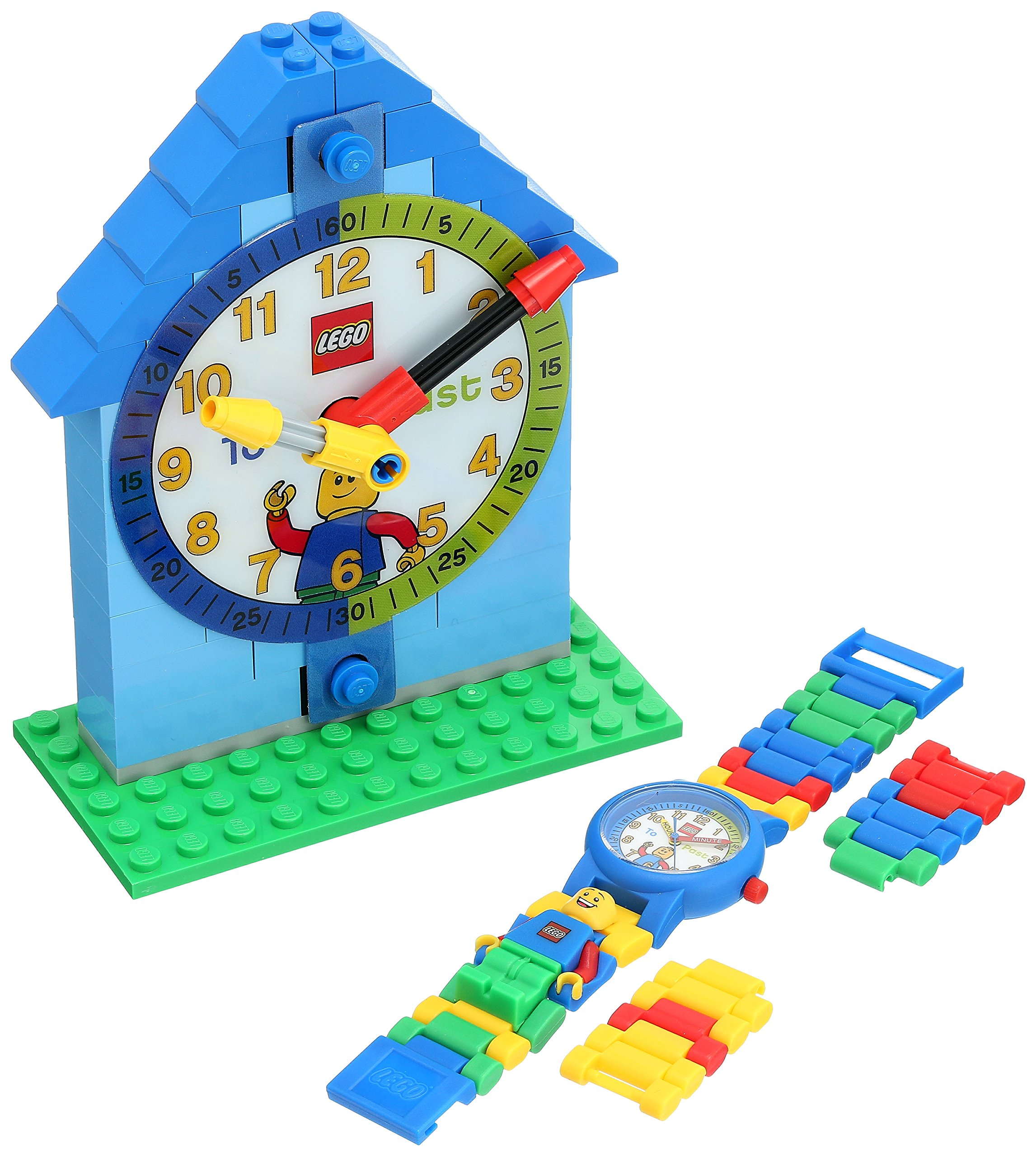 LEGO Time Teacher 9005008 Blue Kids Minifigure Link Buildable Watch, Constructible Clock and Activity Cards   Blue/Green   Plastic   25mm case Diameter  Analog Quartz   boy Girl   Official by LEGO