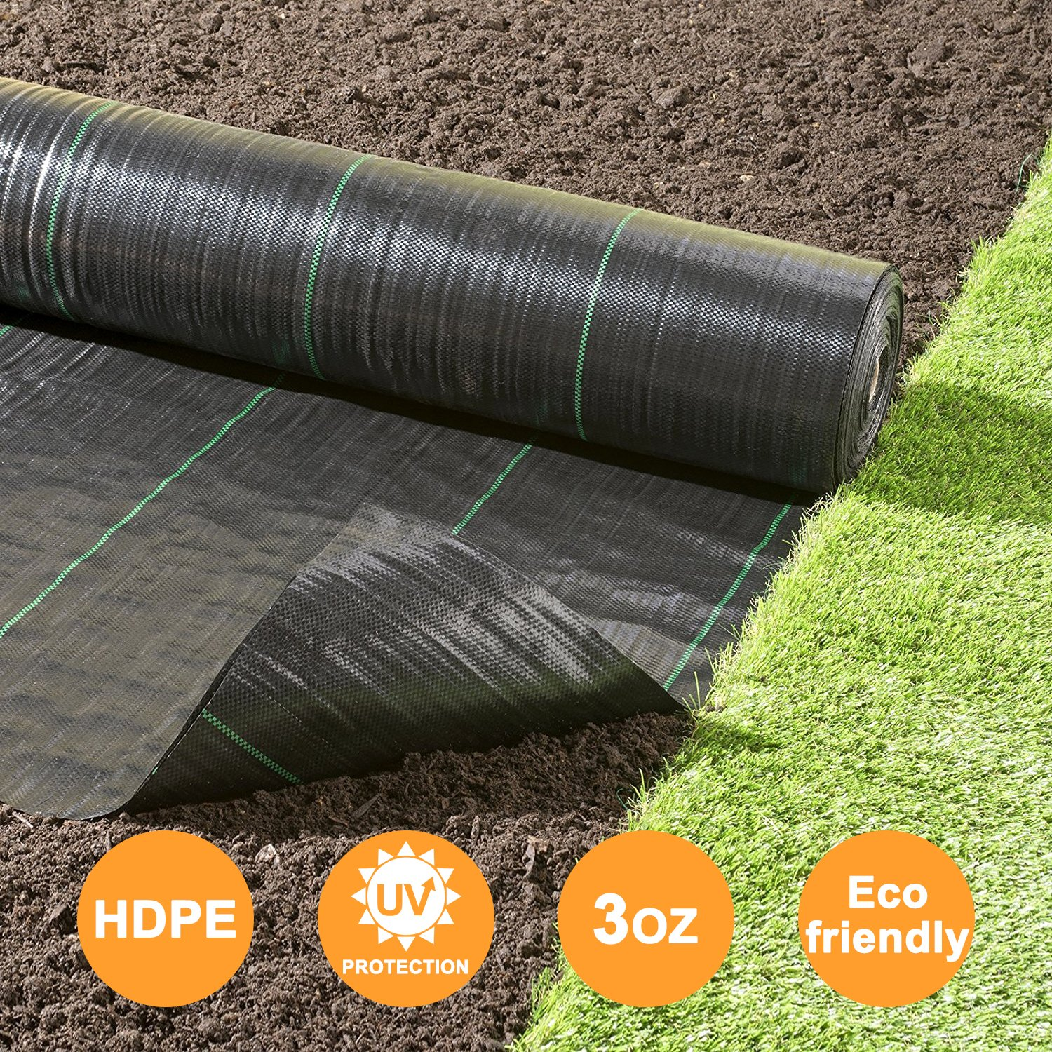 Agfabric Landscape Fabric Weed Barrier Ground Cover Garden Mats for Weeds Block in Raised Garden Bed, 6 Ft X 100 Ft