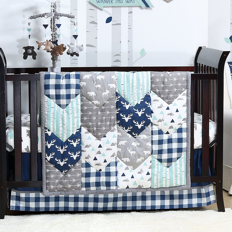 Woodland Trail 4 Piece Forest Animal Theme Patchwork Baby Boy Crib Bedding Set - Navy Blue Plaid