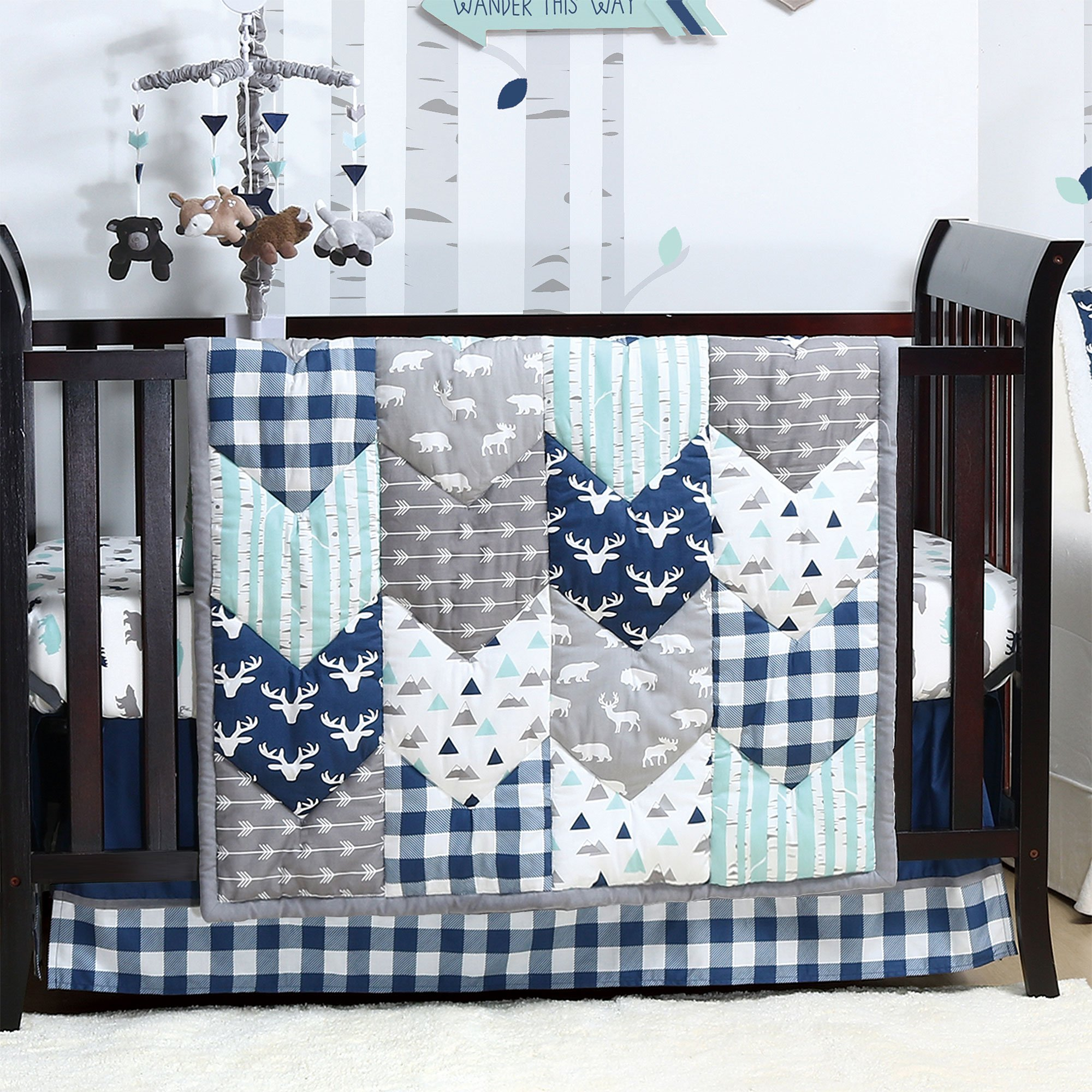 Woodland Trail 4 Piece Baby Boy Crib Bedding Set by The Peanut Shell