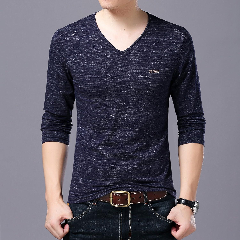 Jdfosvm Herbst männer - Pullover, Junge männer Mode, Freizeit, einfarbig v - Kragen Langarm - Pullover,Blau,XL