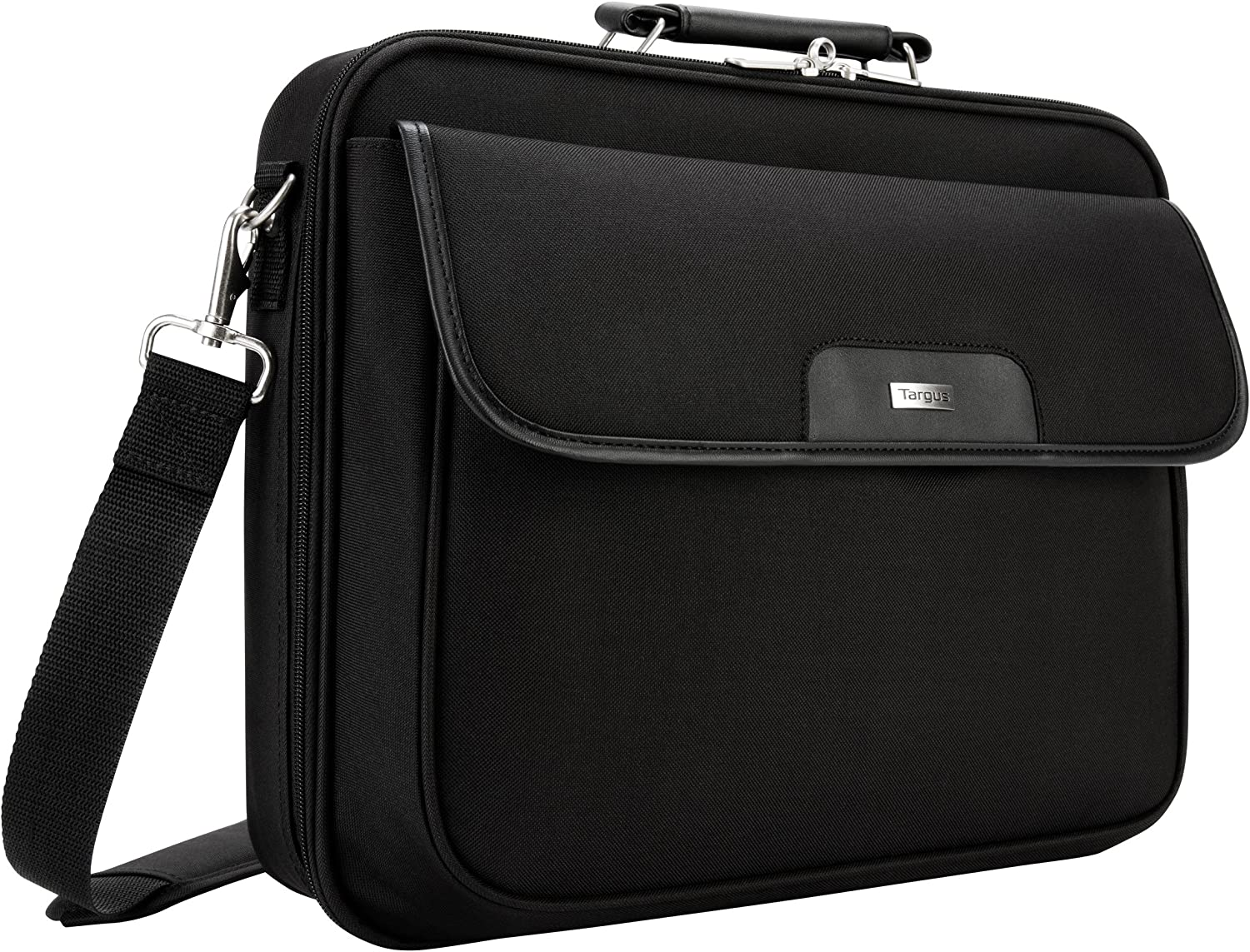 Targus Traditional Notepac Case Messenger Bag with Business Workspace Compartment for File Organization, Removable Shoulder Strap, Trolley Strap, Padded Protection fits 15.4-Inch Laptop, Black (GSA-OCN1)